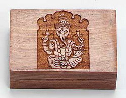 "Wooden Box - Ganesh Hand Carved (4""x6"")"